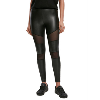 Pantalon (leggings) pour femmes URBAN CLASSICS - Tech Mesh Faux Leather Leggings - noir, URBAN CLASSICS