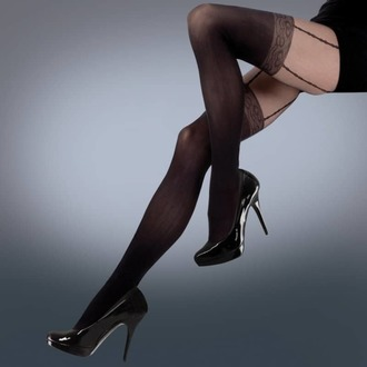 collants LEGWEAR - mock lace suspender - noir, LEGWEAR