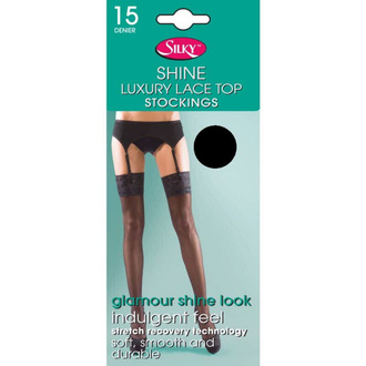 Collants LEGWEAR - shine lace top - noir, LEGWEAR